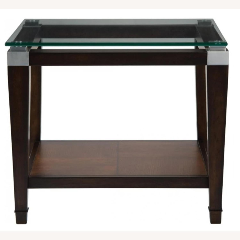 Raymour & Flanigan Glass End Table with Oak Hardwood - image-2