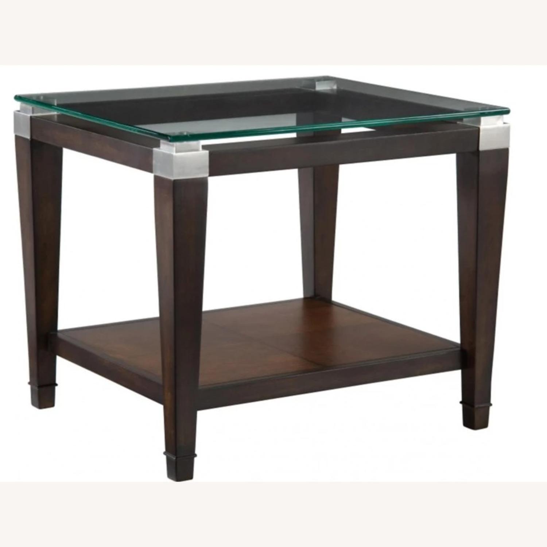 Raymour & Flanigan Glass End Table with Oak Hardwood - image-1