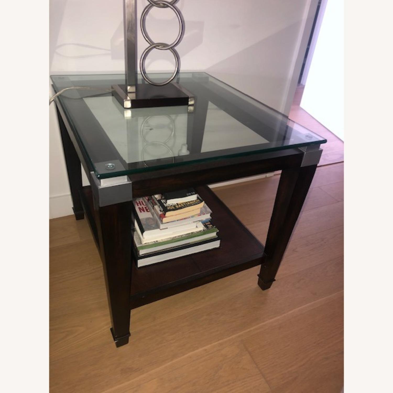 Raymour & Flanigan Glass End Table with Oak Hardwood - image-4