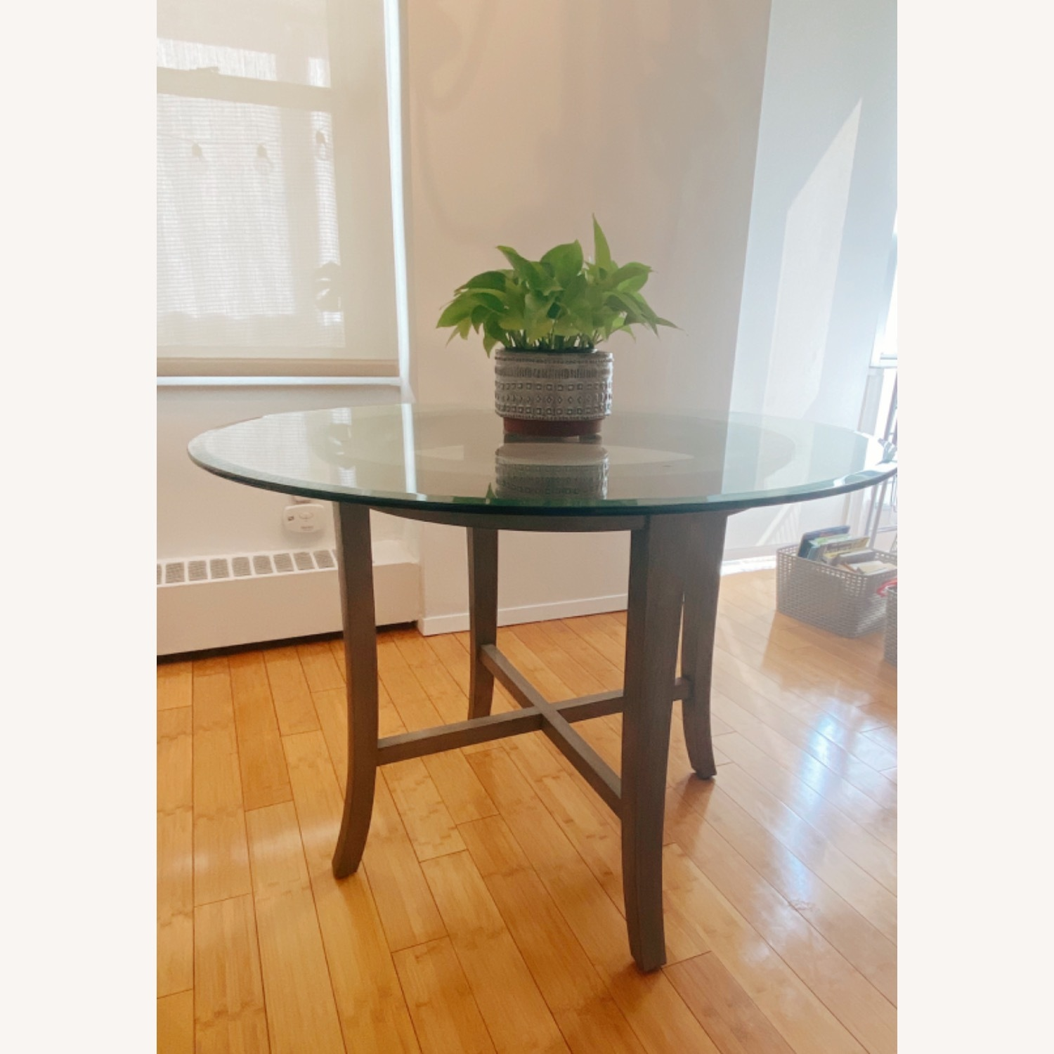 Crate and Barrel Round Glass Dining Table - image-2