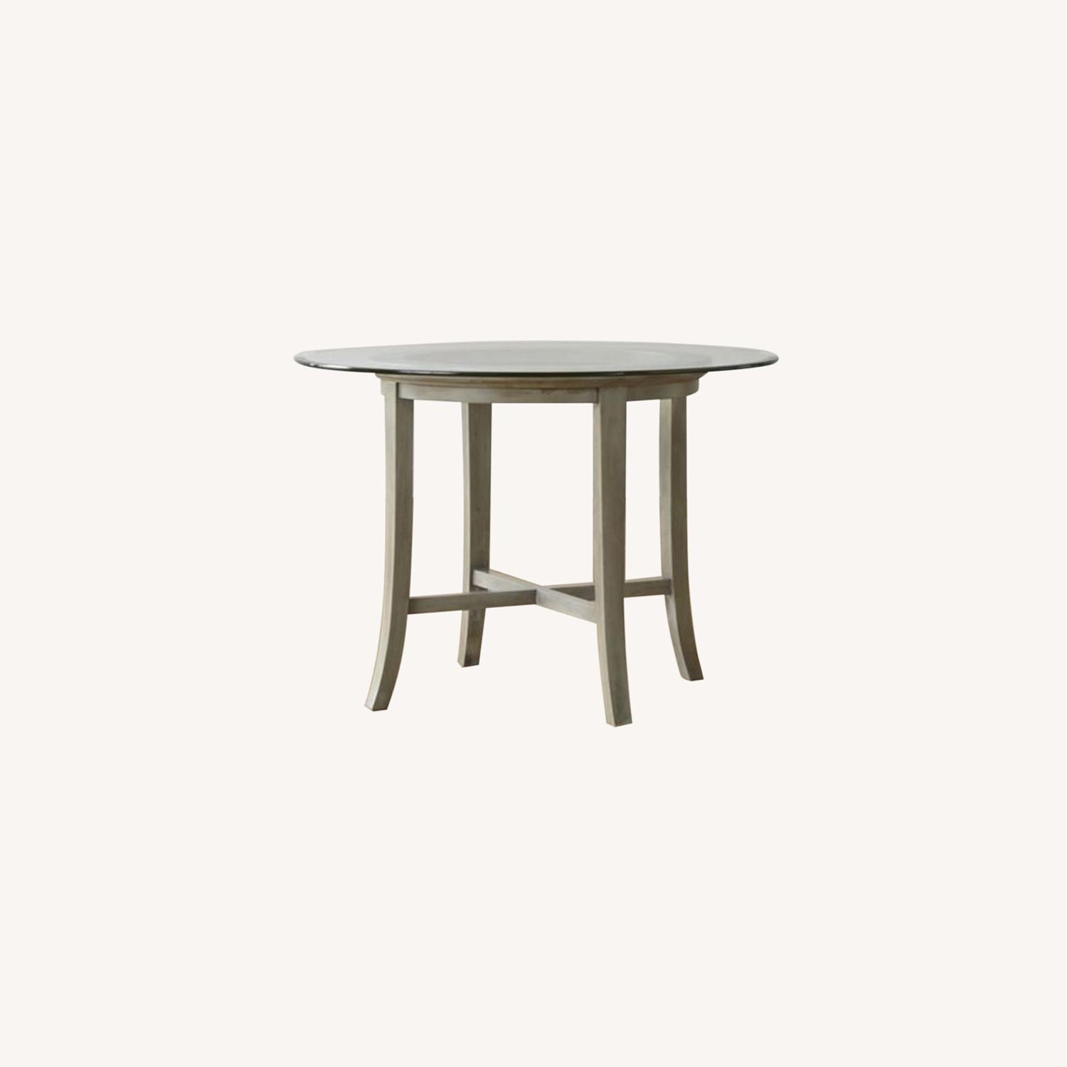 Crate and Barrel Round Glass Dining Table - image-0