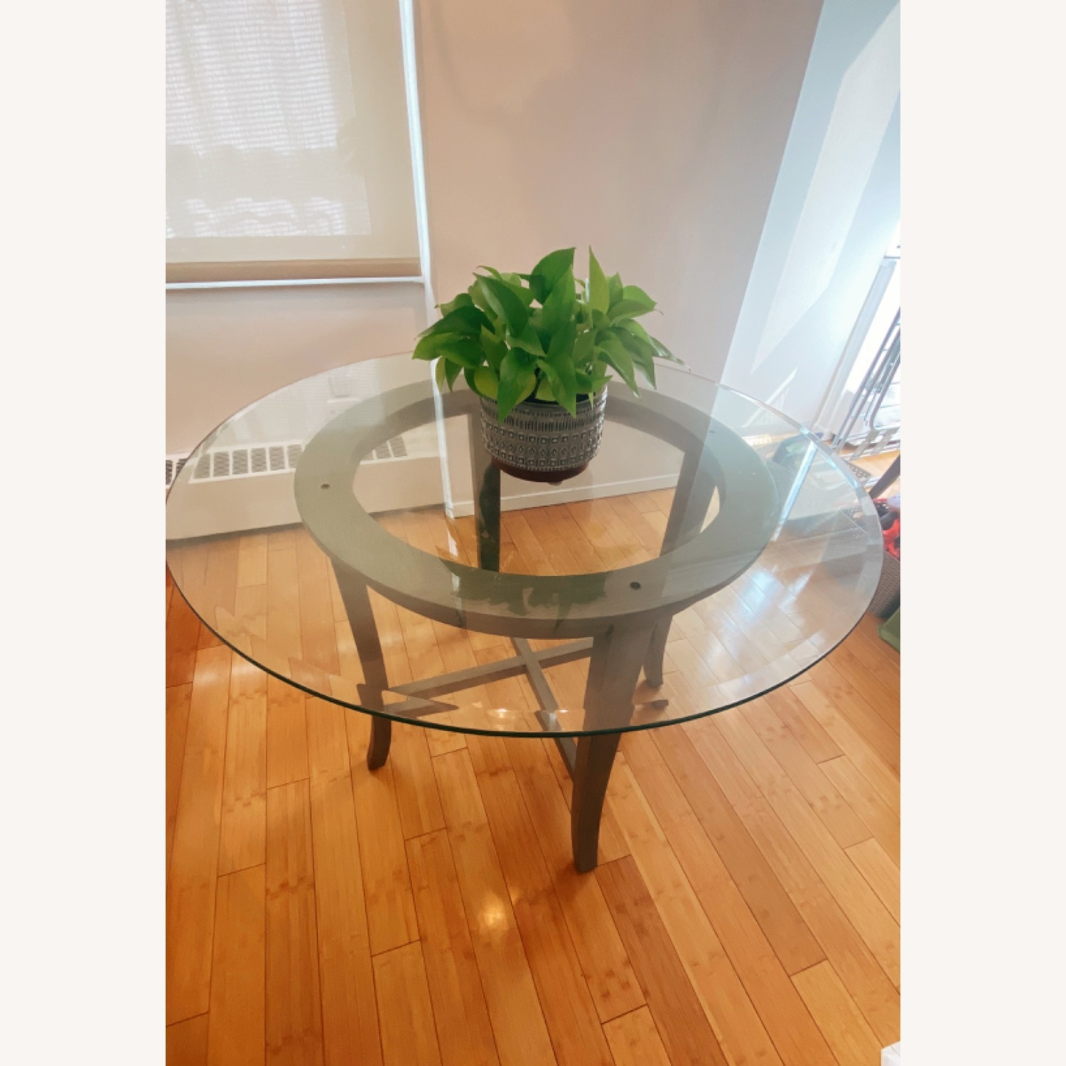 Crate and Barrel Round Glass Dining Table - image-1