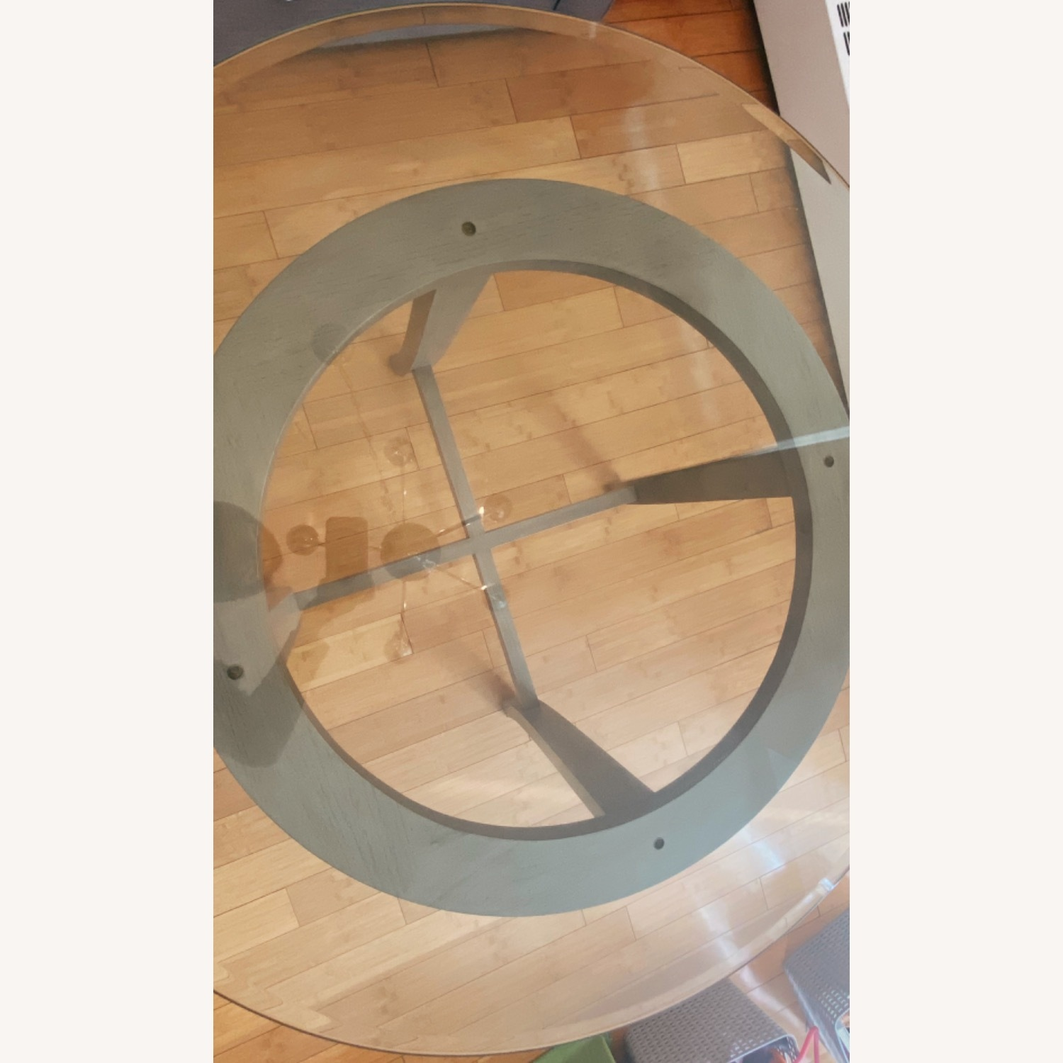 Crate and Barrel Round Glass Dining Table - image-3