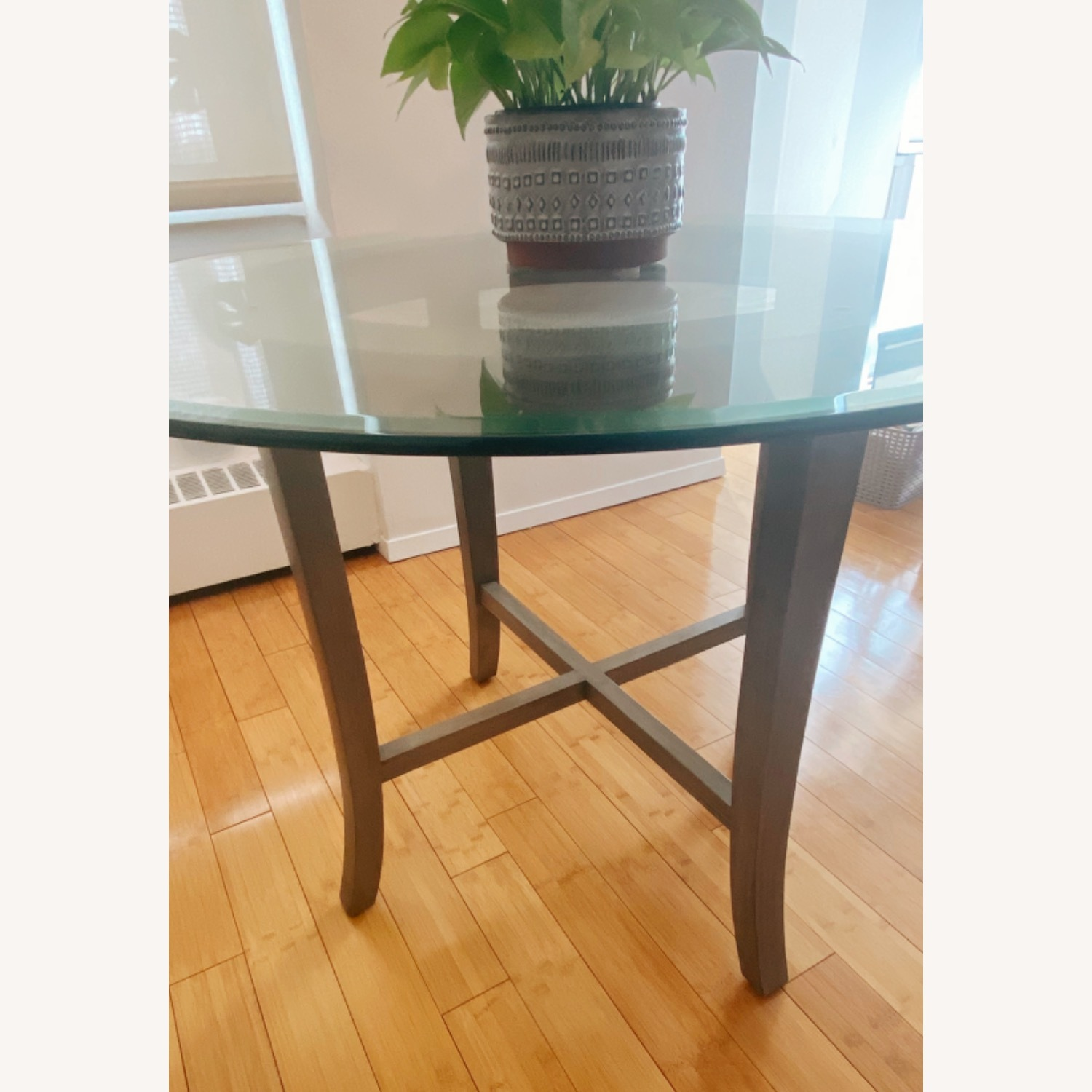 Crate and Barrel Round Glass Dining Table - image-5