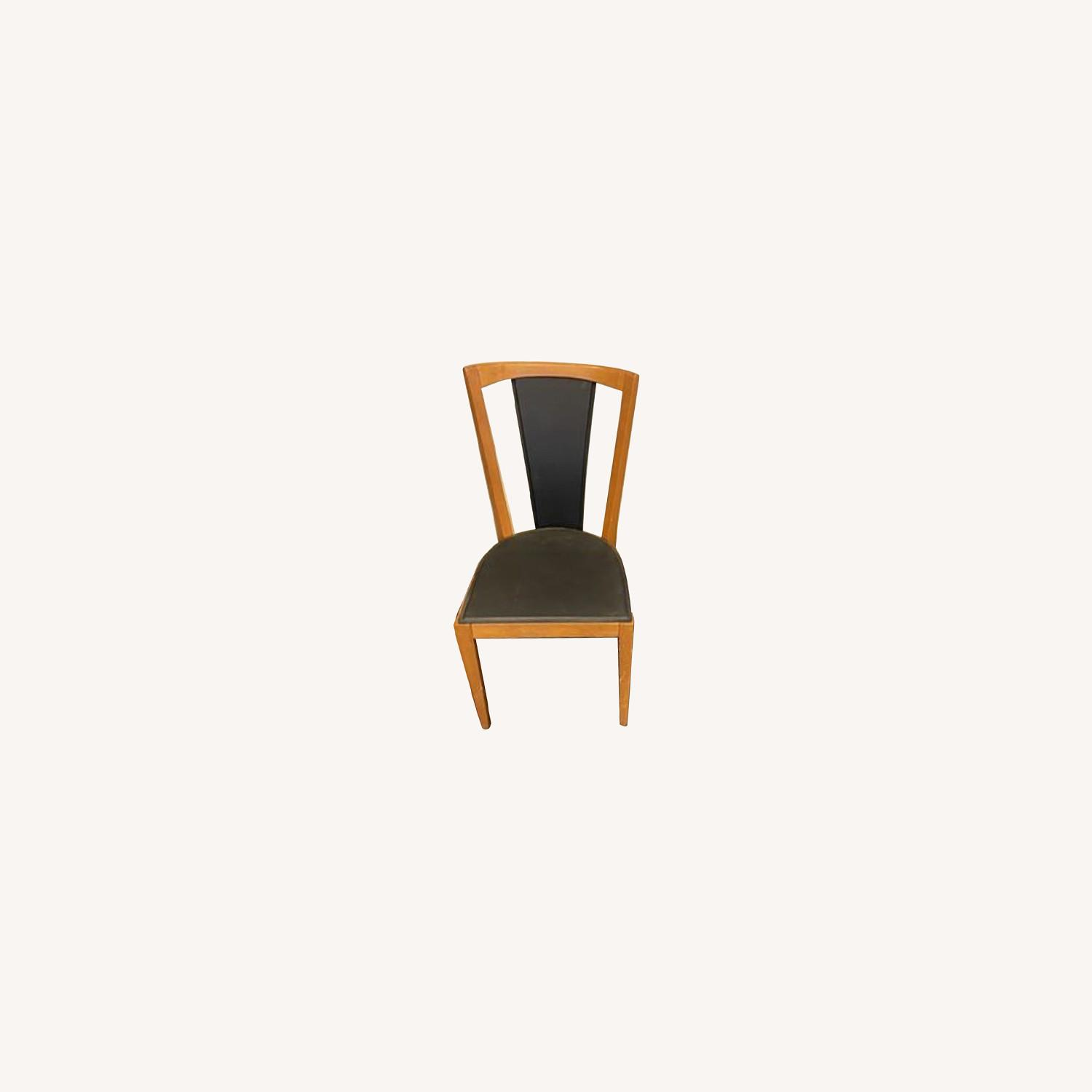 Set of Black Leather Board Wooden Dining Chairs - image-0