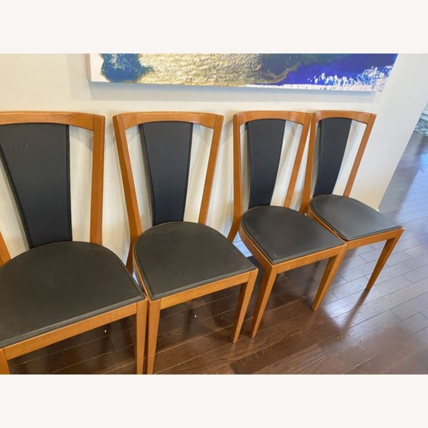Set of Black Leather Board Wooden Dining Chairs - image-1
