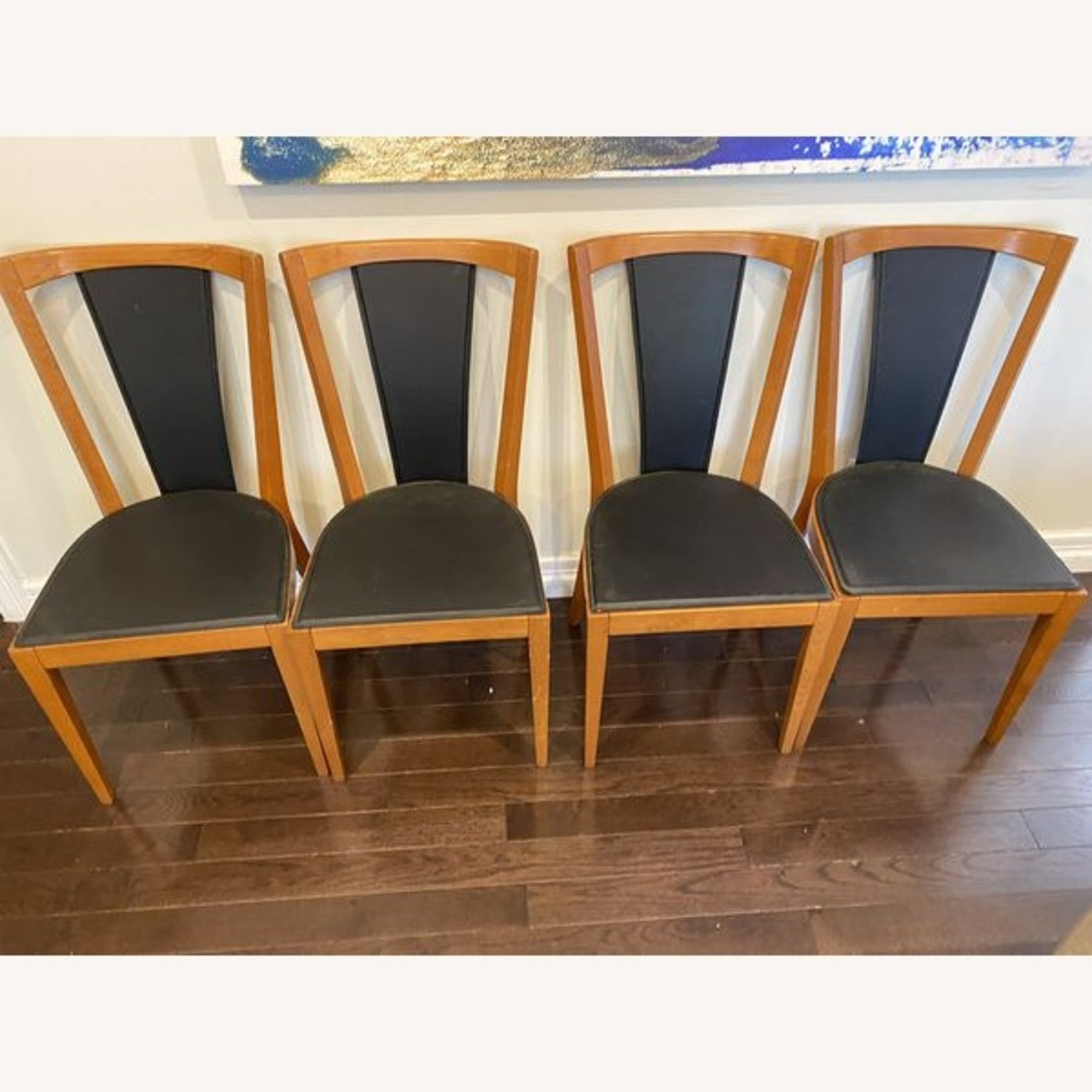 Set of Black Leather Board Wooden Dining Chairs - image-4