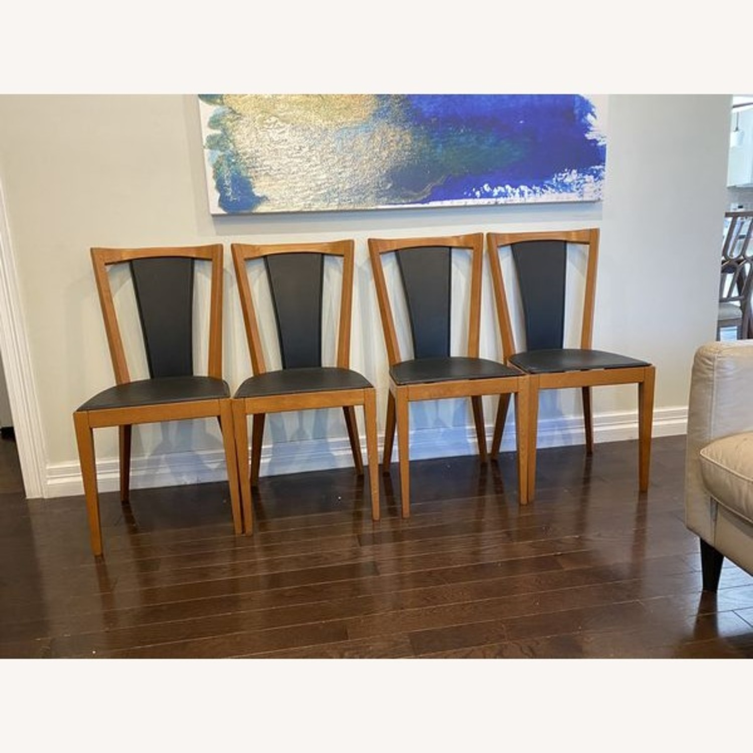 Set of Black Leather Board Wooden Dining Chairs - image-5
