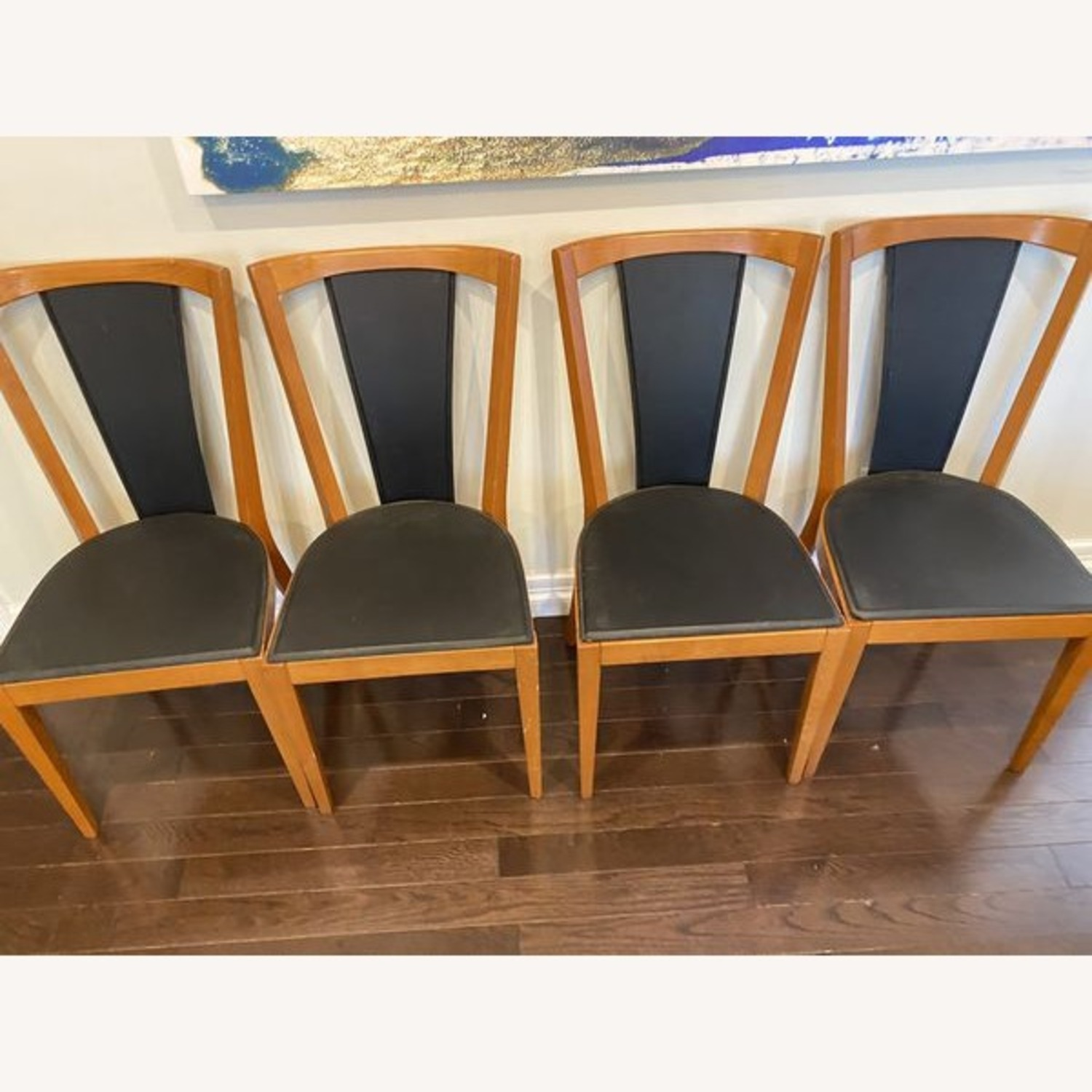 Set of Black Leather Board Wooden Dining Chairs - image-3