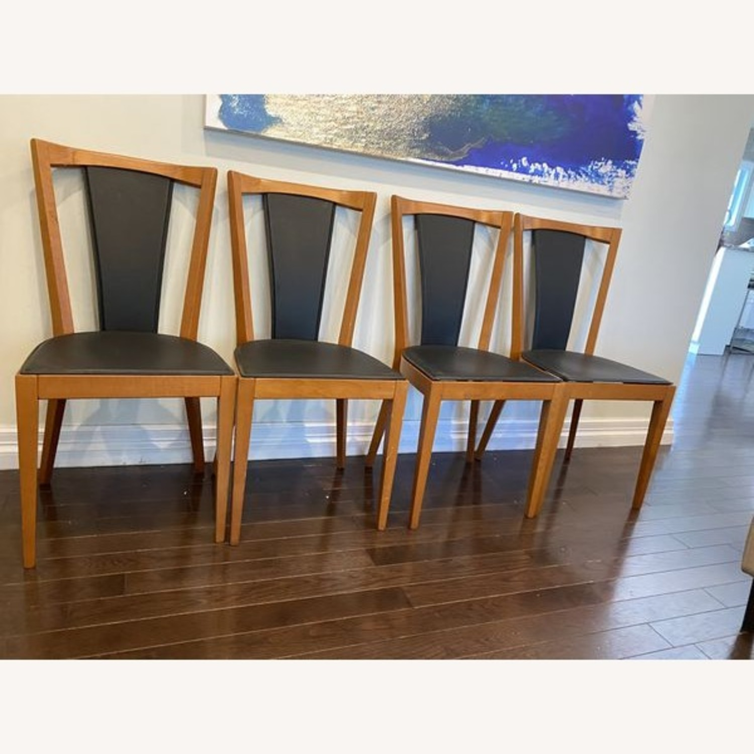 Set of Black Leather Board Wooden Dining Chairs - image-2