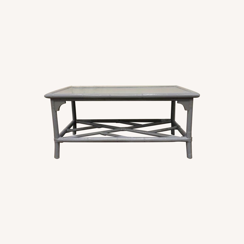 Lightweight Gray Latticework Coffee Table - image-0