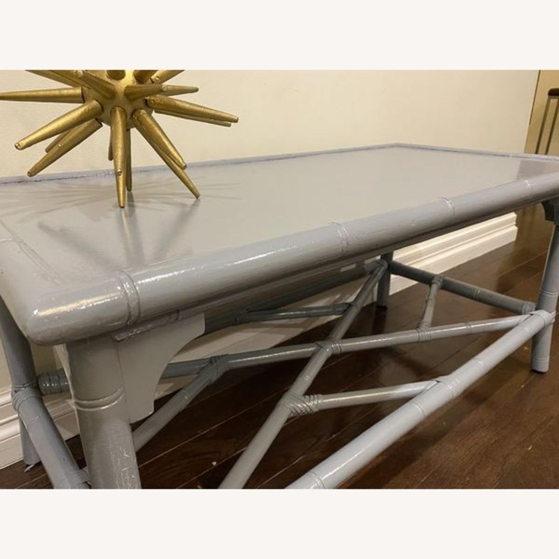 Lightweight Gray Latticework Coffee Table - image-1