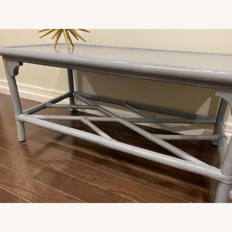 Lightweight Gray Latticework Coffee Table - image-3