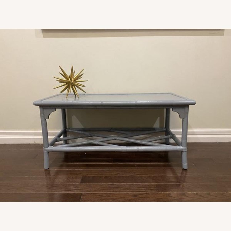 Lightweight Gray Latticework Coffee Table - image-2
