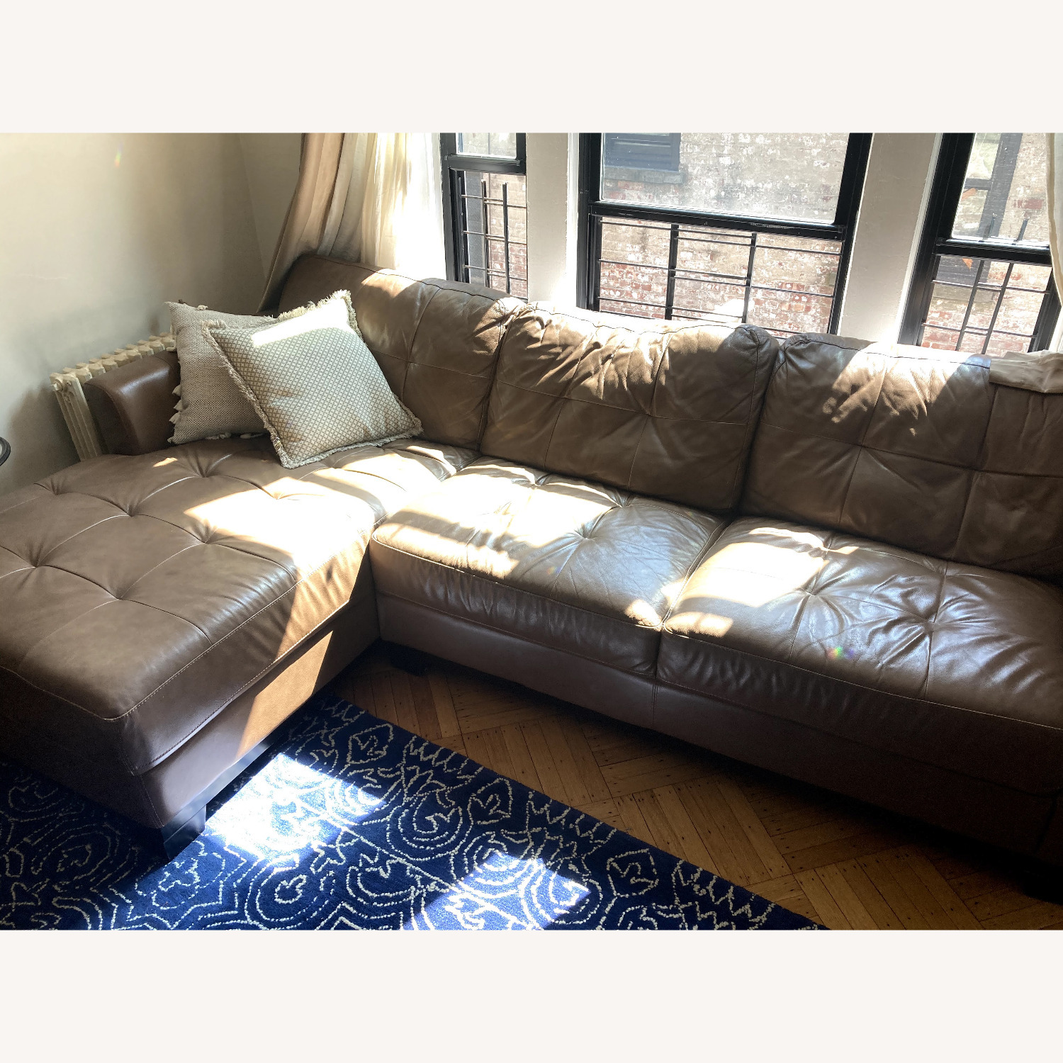 Macy's Martino Leather Chaise Sectional Sofa - image-6