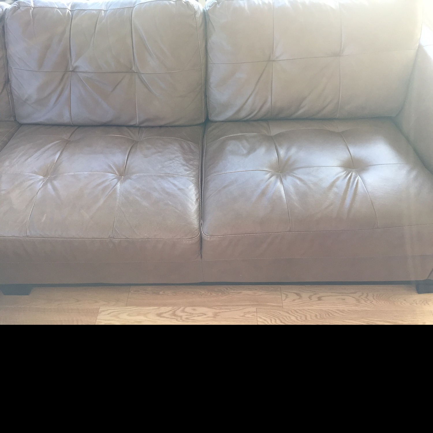 Macy's Martino Leather Chaise Sectional Sofa - image-2