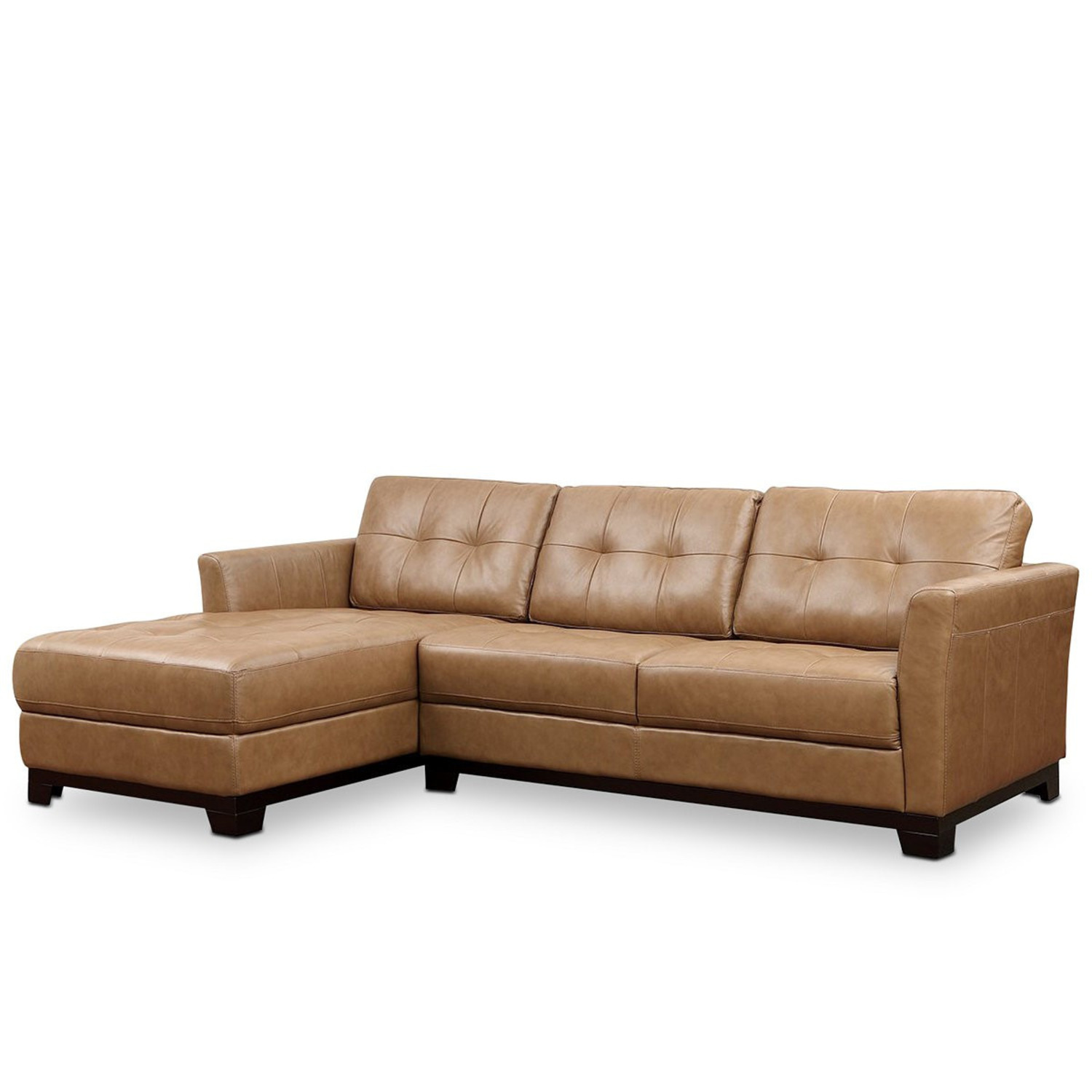 Macy's Martino Leather Chaise Sectional Sofa - image-0