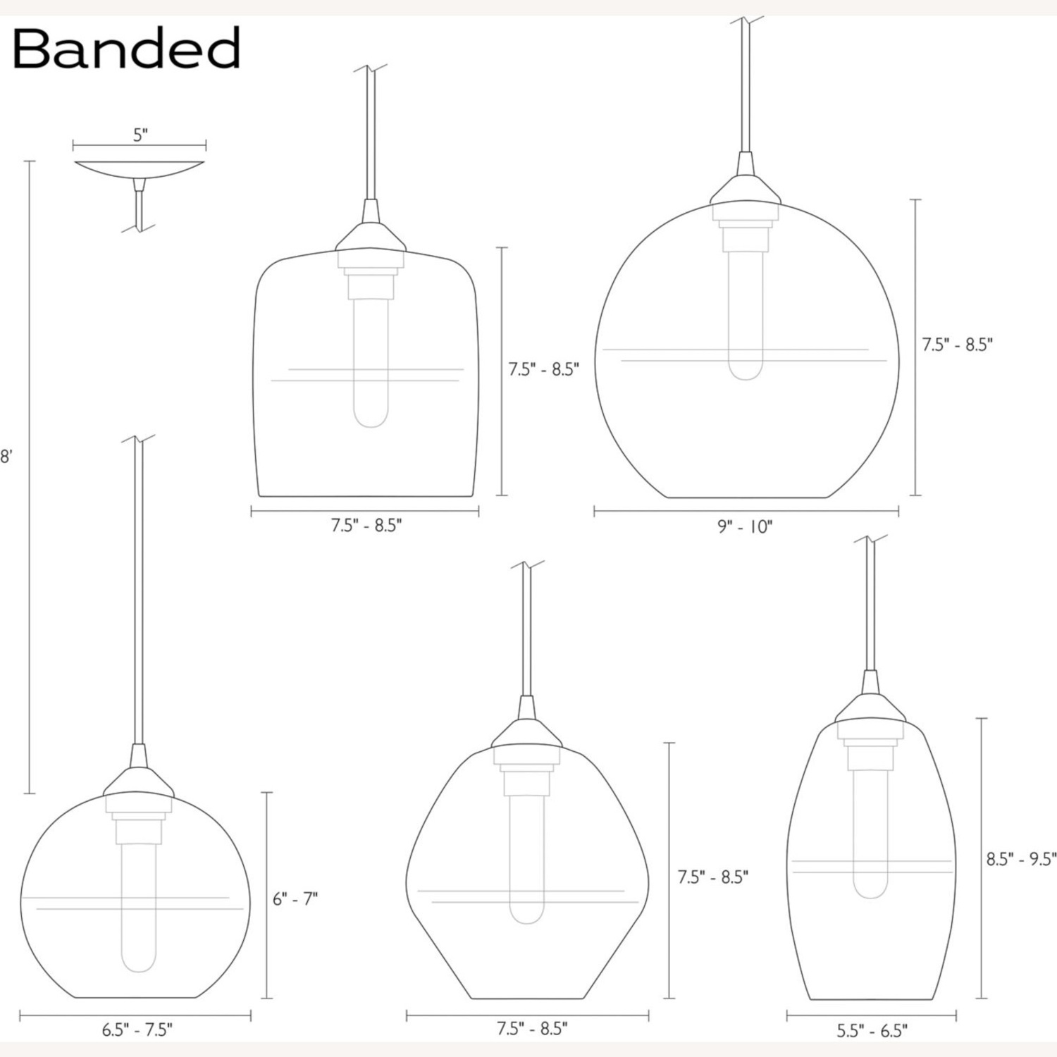 Room and Board Banded Pendant Light (1) - image-3