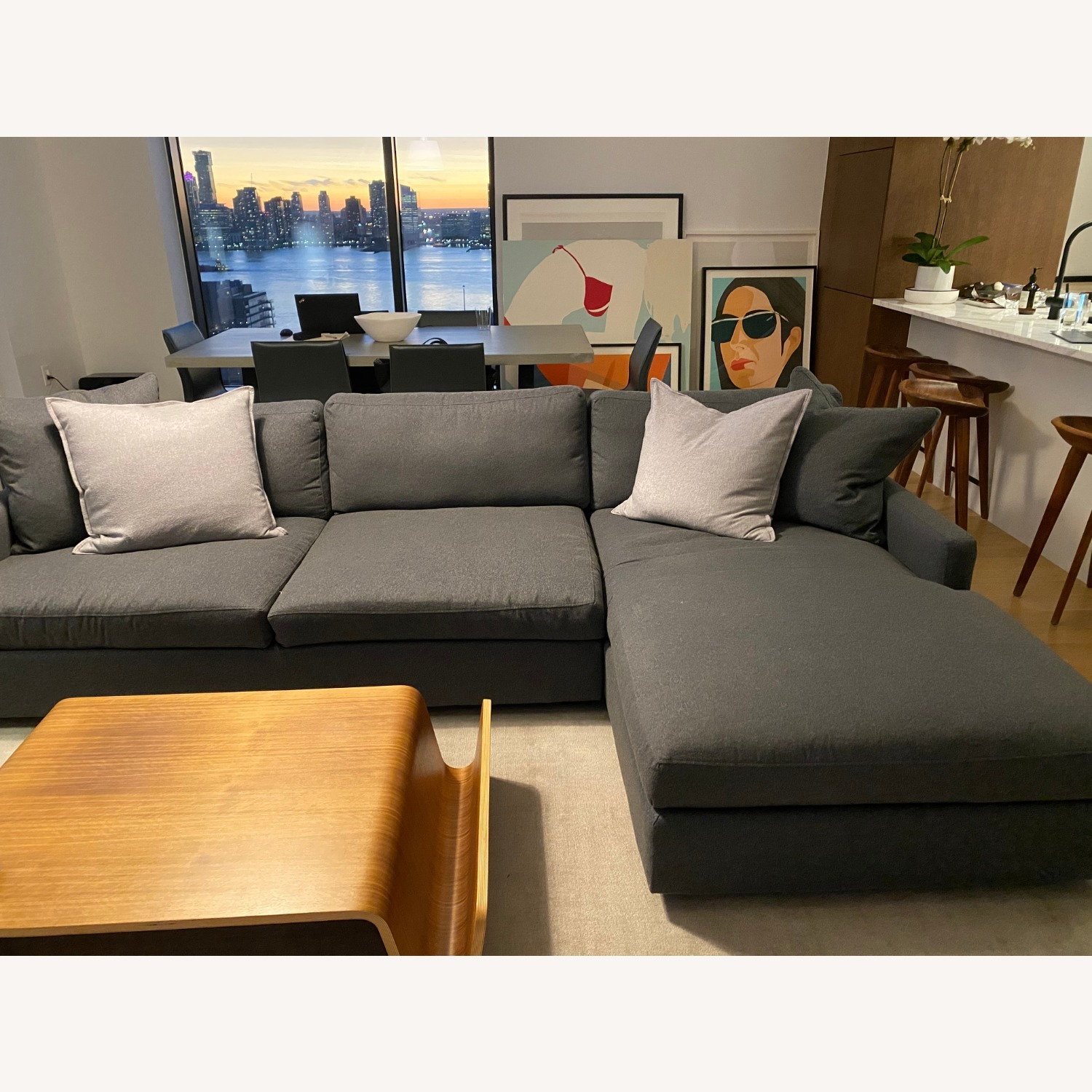 Room & Board Charcoal Sectional - image-1