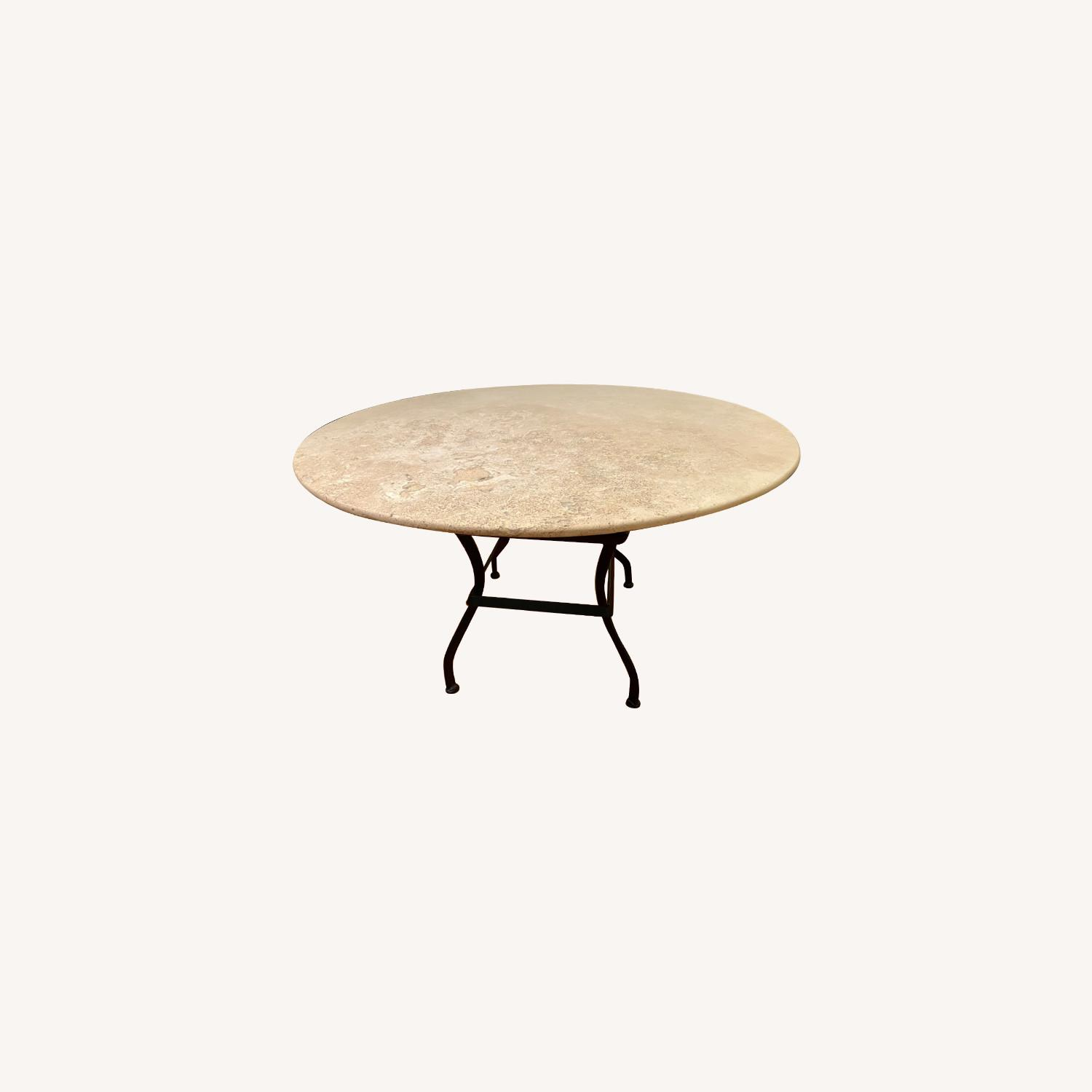 Crate & Barrel Stone Dining Table Indoor Outdoor - image-0