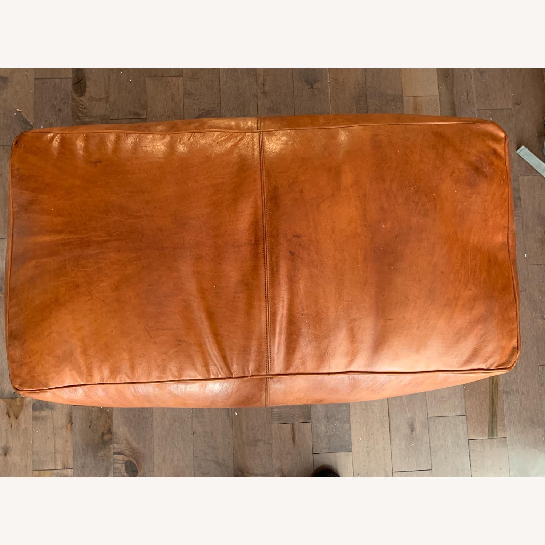 Orange Leather Ottoman - image-2