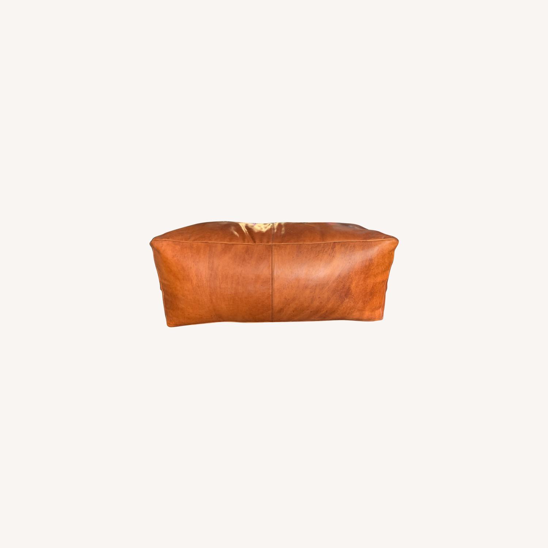 Orange Leather Ottoman - image-0