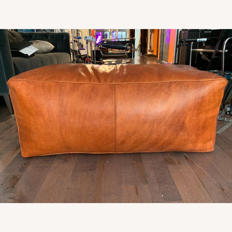Orange Leather Ottoman - image-1