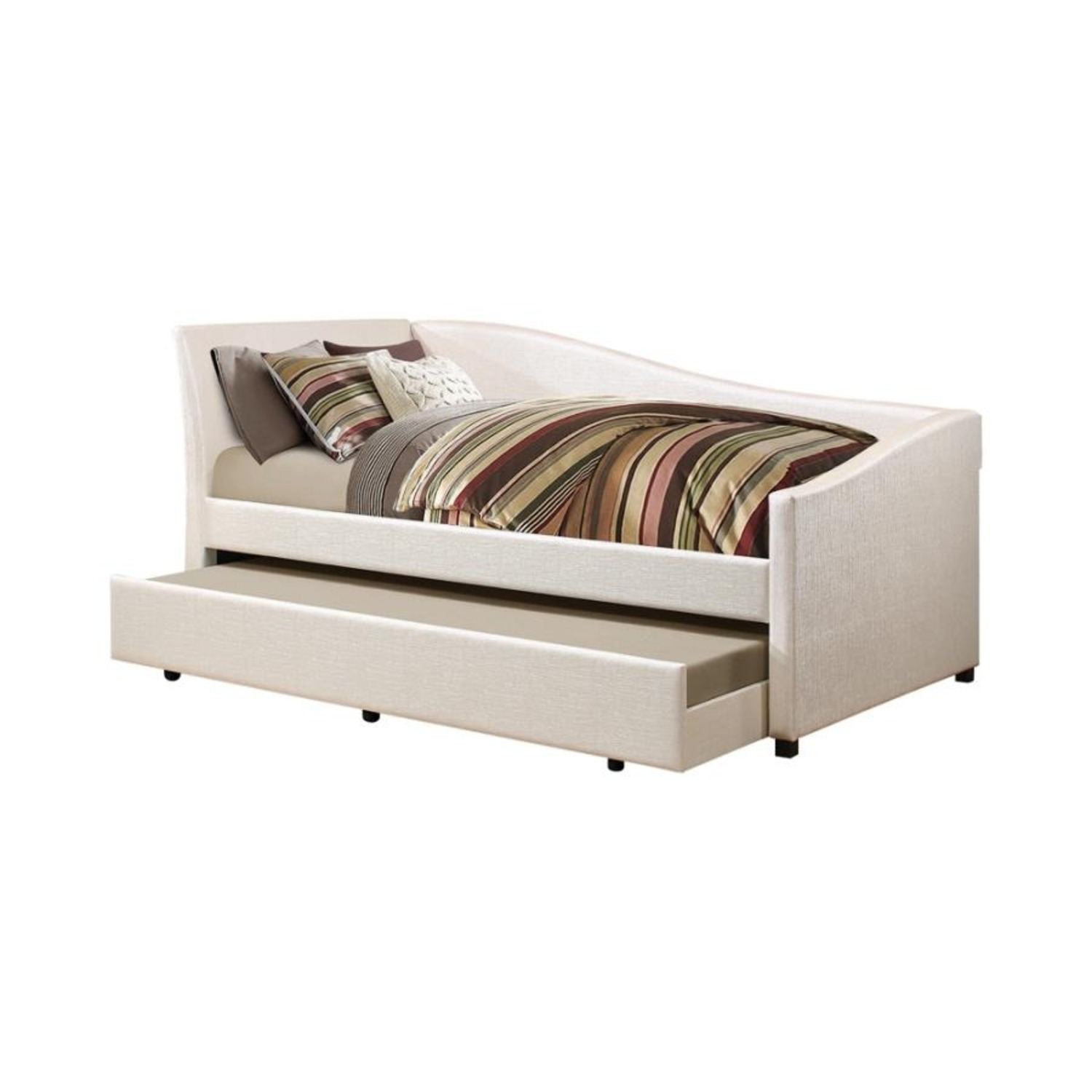 Twin Daybed In Ivory Leatherette W Trundle - image-1