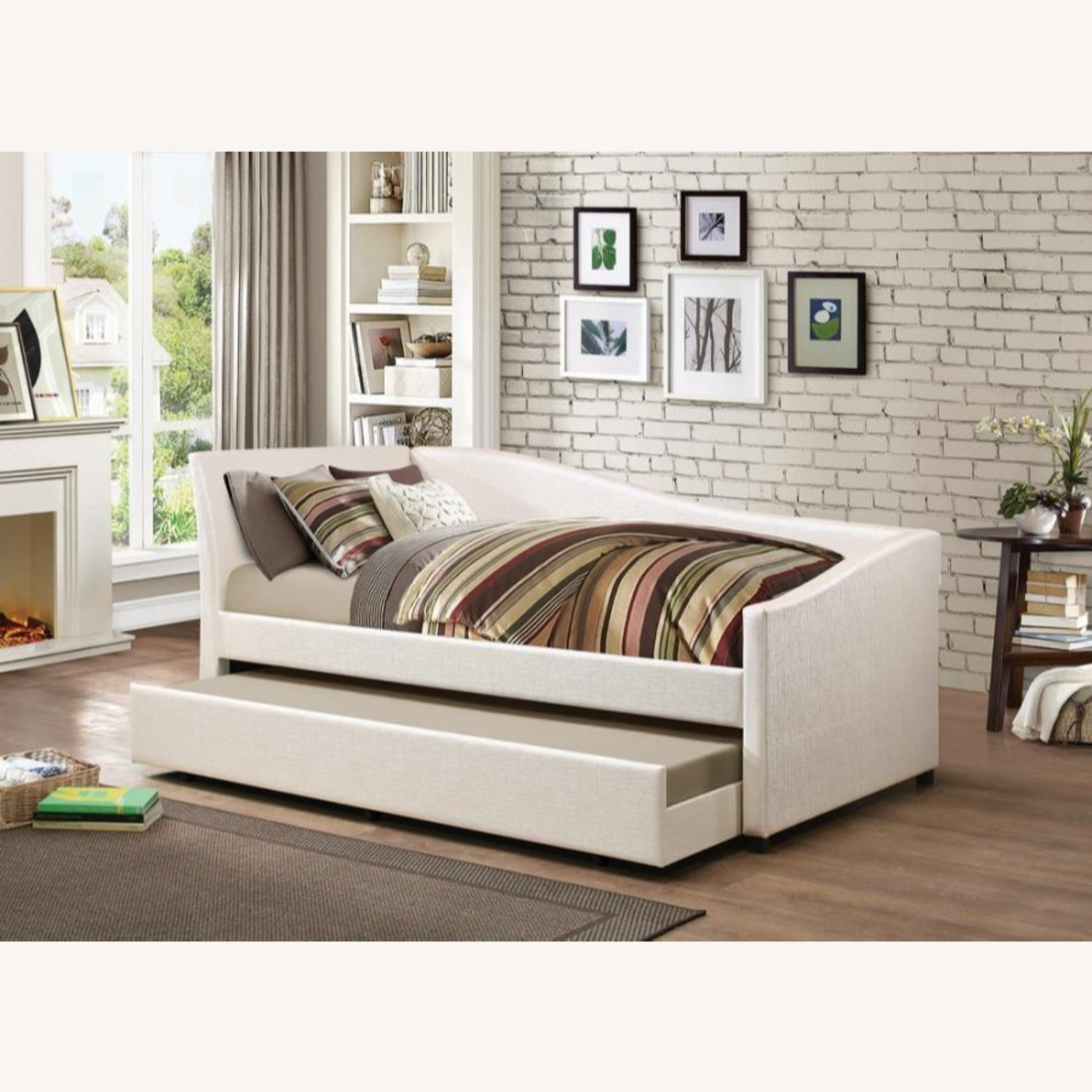 Twin Daybed In Ivory Leatherette W Trundle - image-2