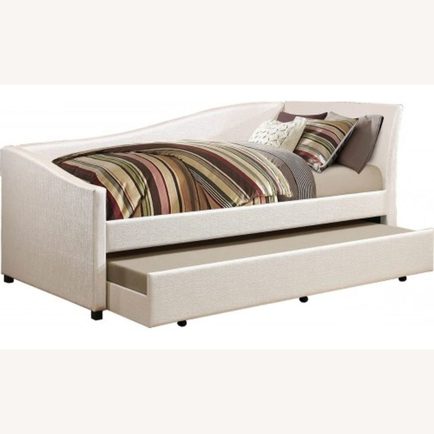 Twin Daybed In Ivory Leatherette W Trundle - image-0