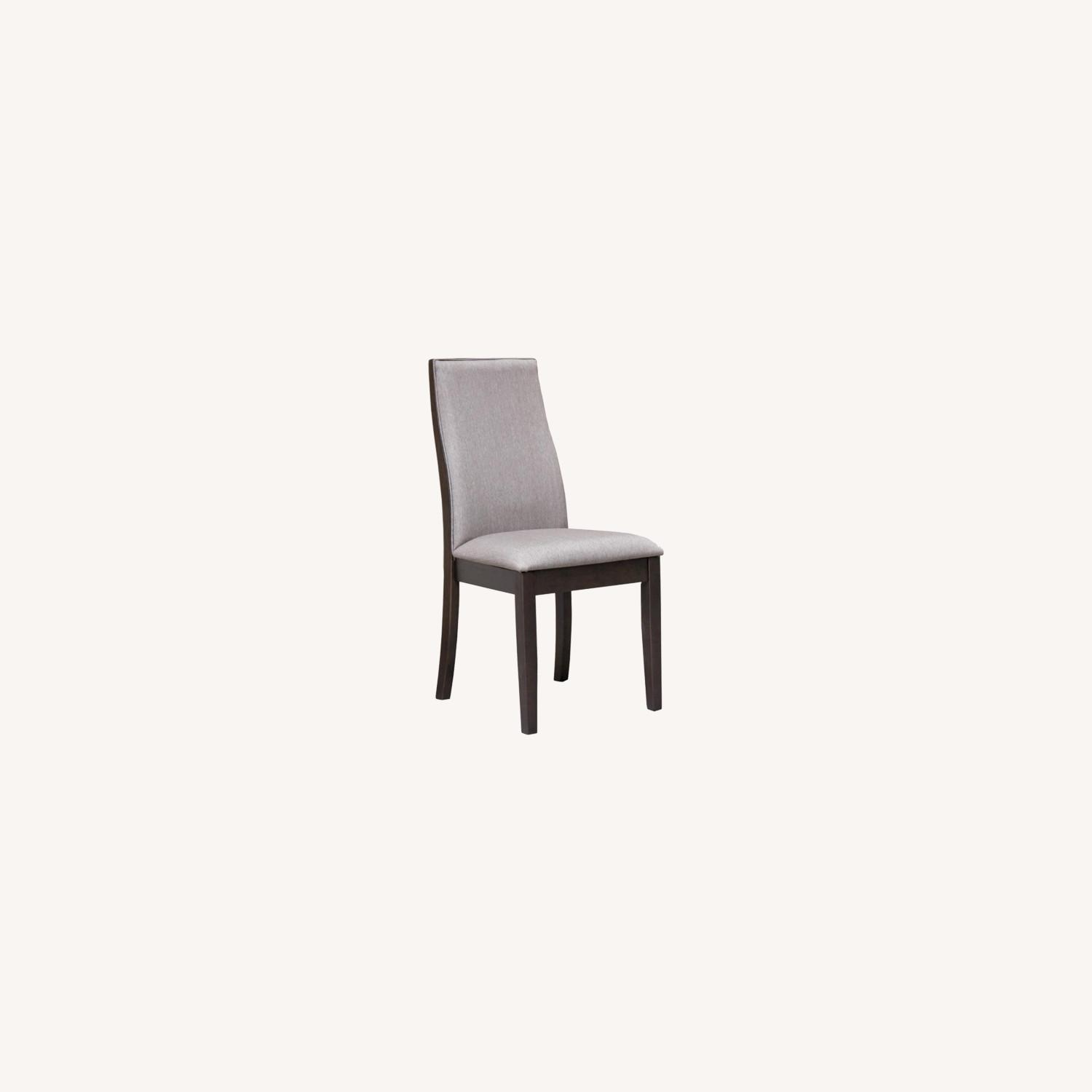 Dining Chair In Grey Fabric & Espresso Wood Finish - image-6
