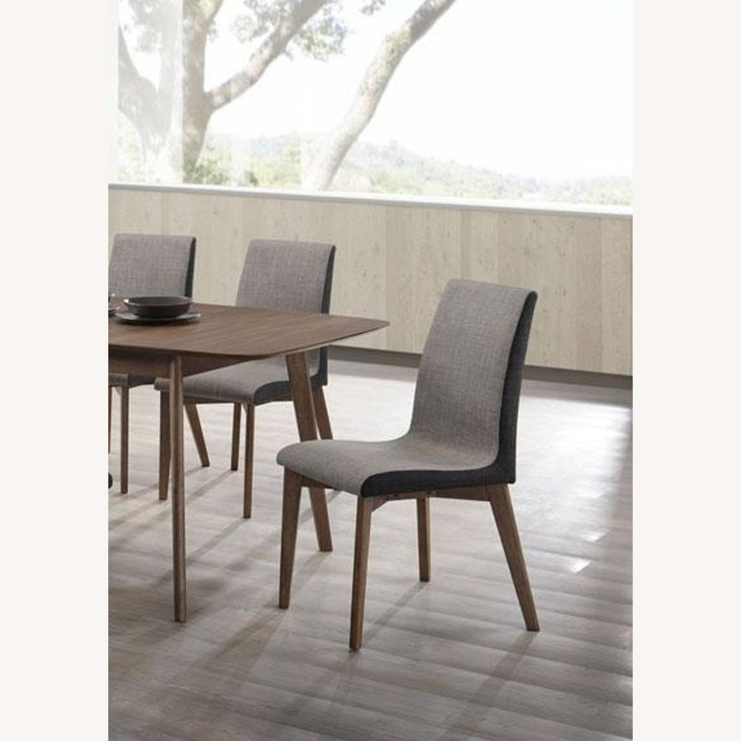 Dining Chair In Grey Fabric & Espresso Wood Finish - image-4