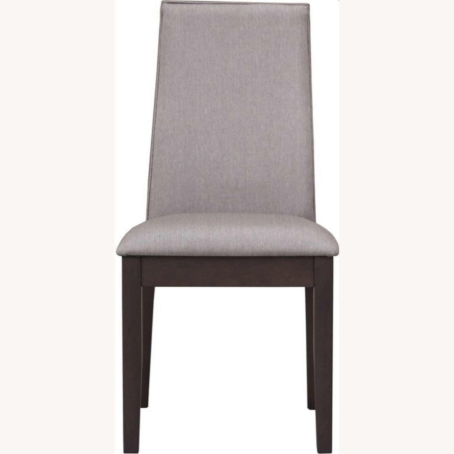 Dining Chair In Grey Fabric & Espresso Wood Finish - image-2