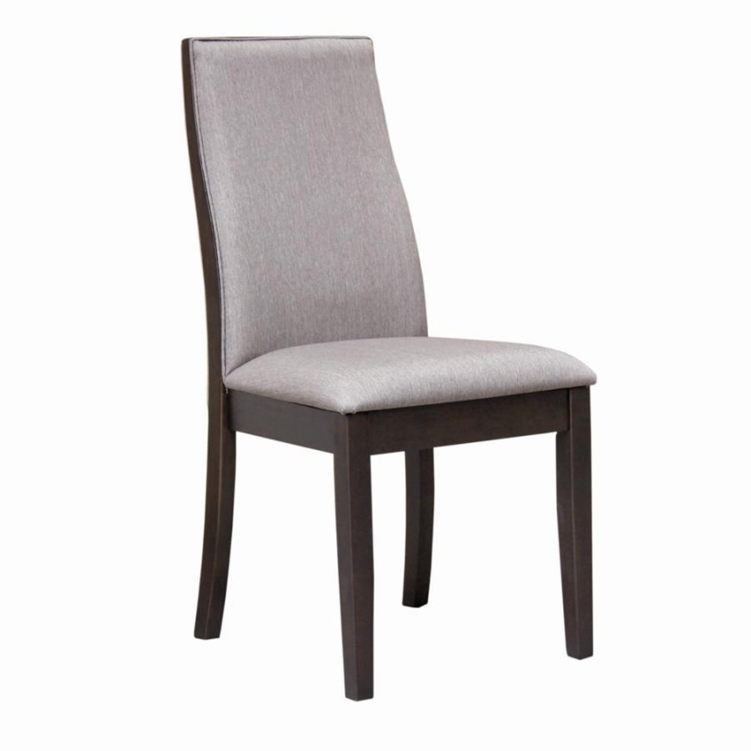Dining Chair In Grey Fabric & Espresso Wood Finish - image-0