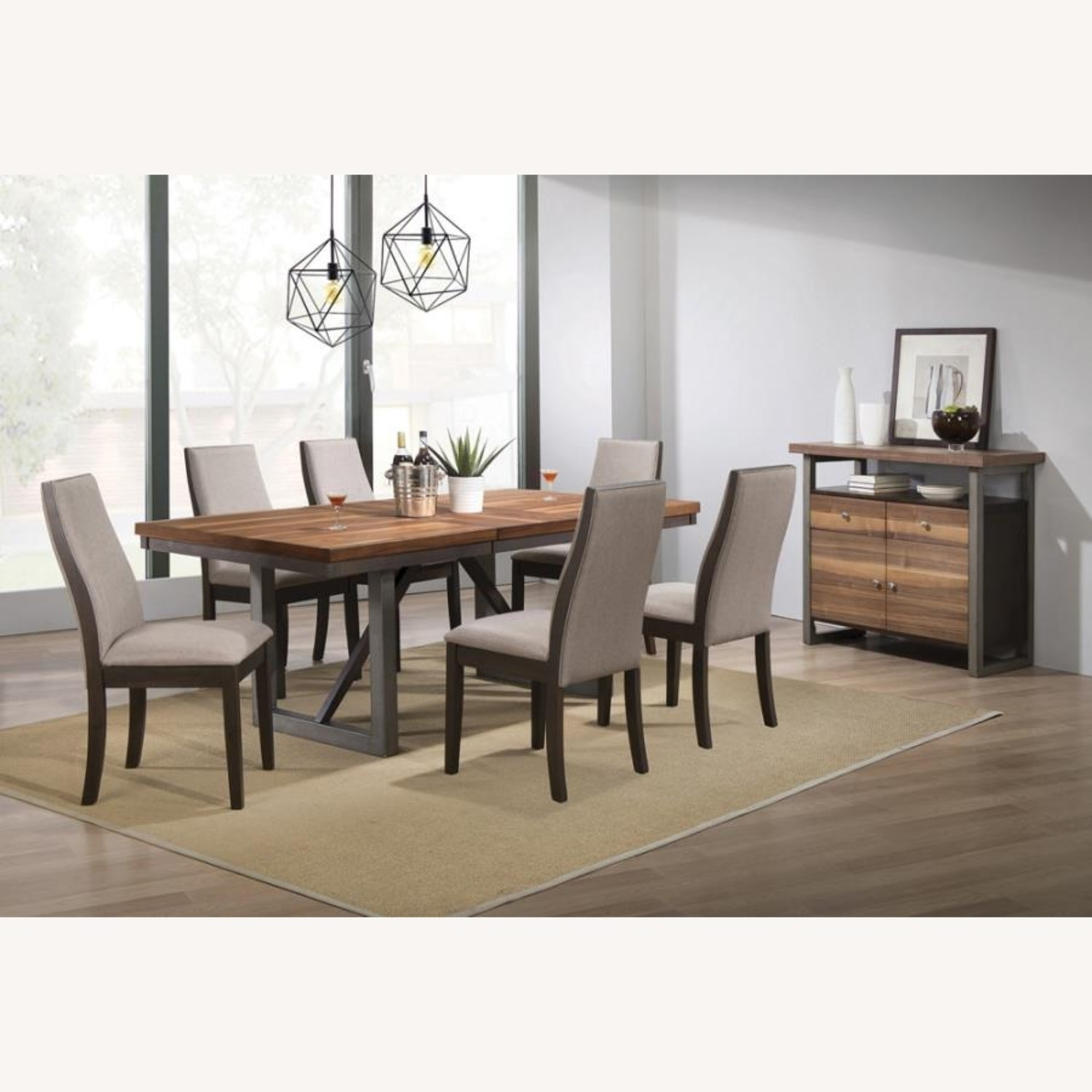 Dining Chair In Grey Fabric & Espresso Wood Finish - image-5