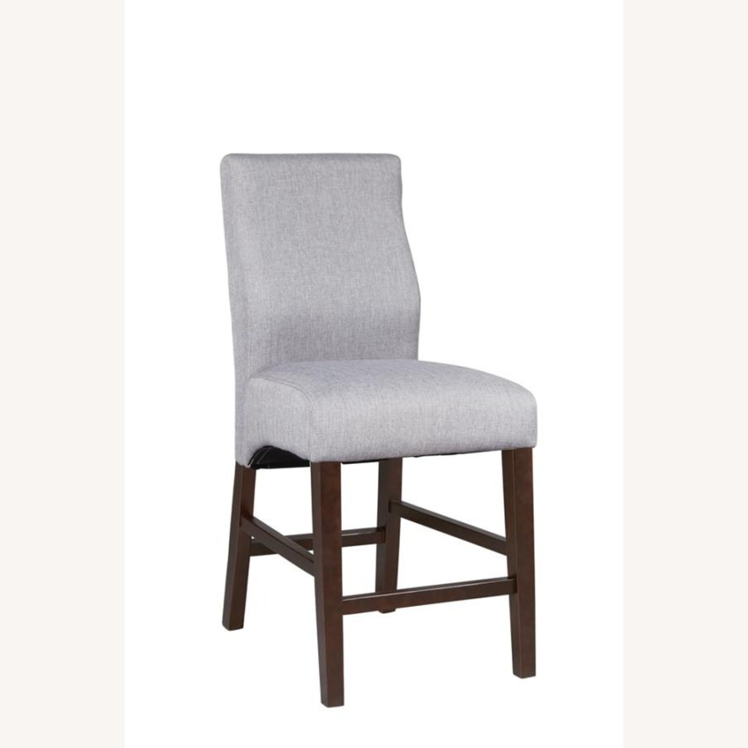 Counter Height Stool Upholstered In Grey Fabric - image-0
