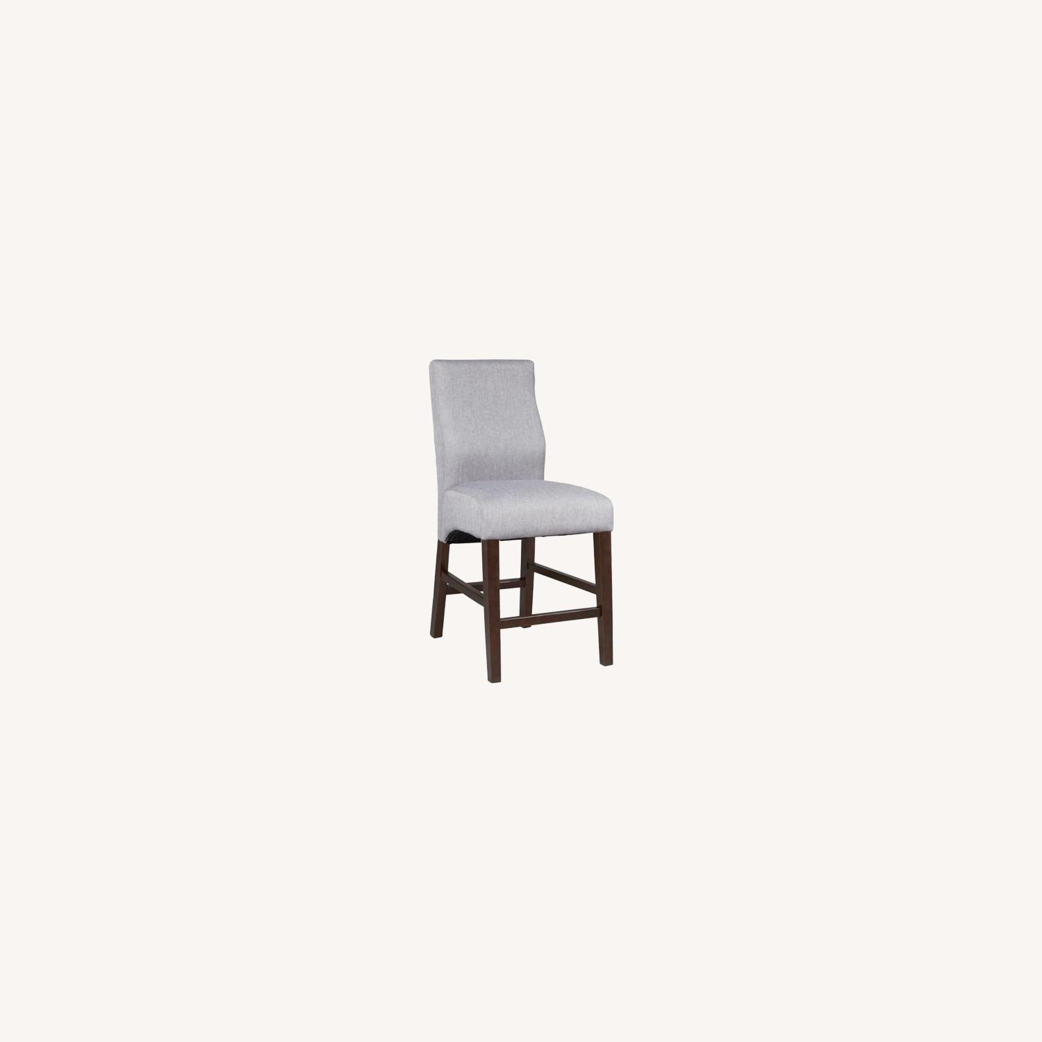 Counter Height Stool Upholstered In Grey Fabric - image-5