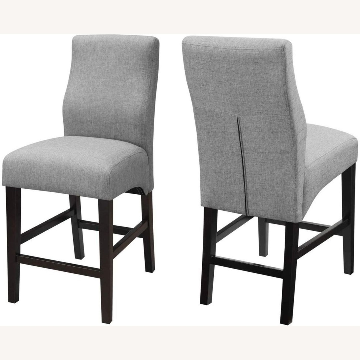 Counter Height Stool Upholstered In Grey Fabric - image-1
