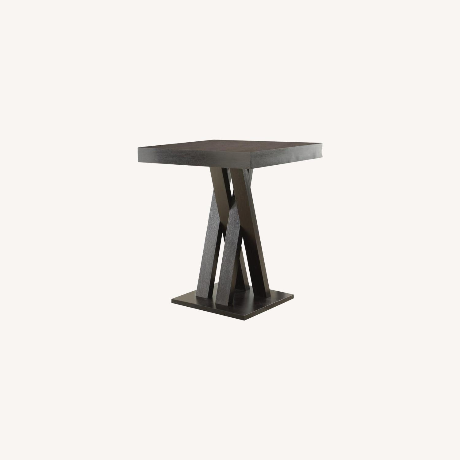 Square Bar Table In Cappuccino W/ Double X Base - image-3