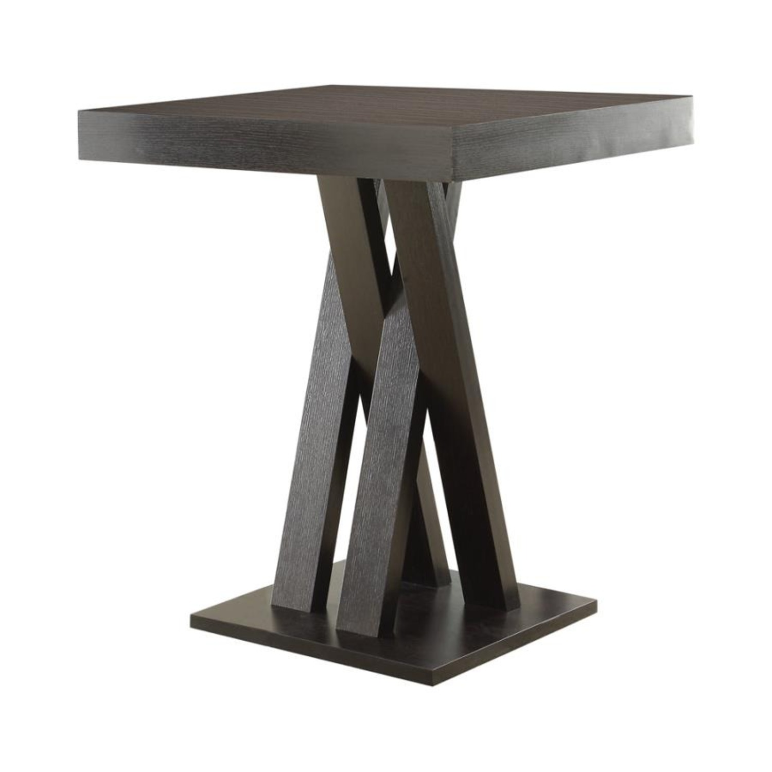 Square Bar Table In Cappuccino W/ Double X Base - image-1
