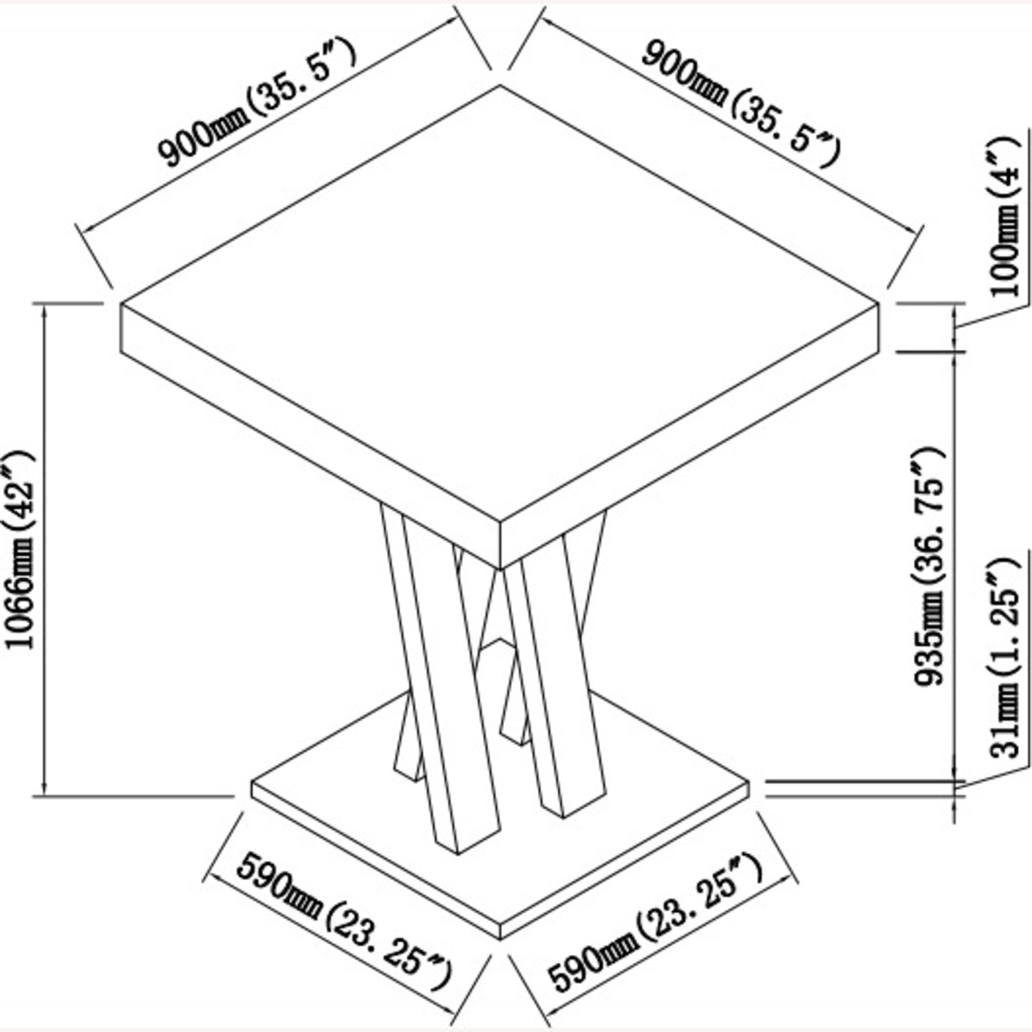 Square Bar Table In Cappuccino W/ Double X Base - image-4