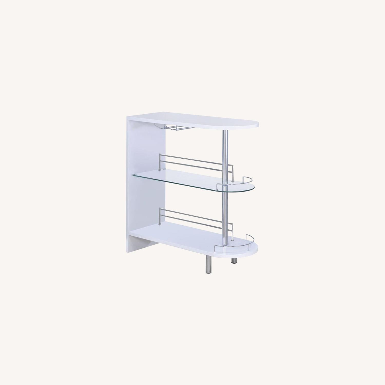 Bar Cart In Glossy White W/ Tempered Glass Shelf - image-4