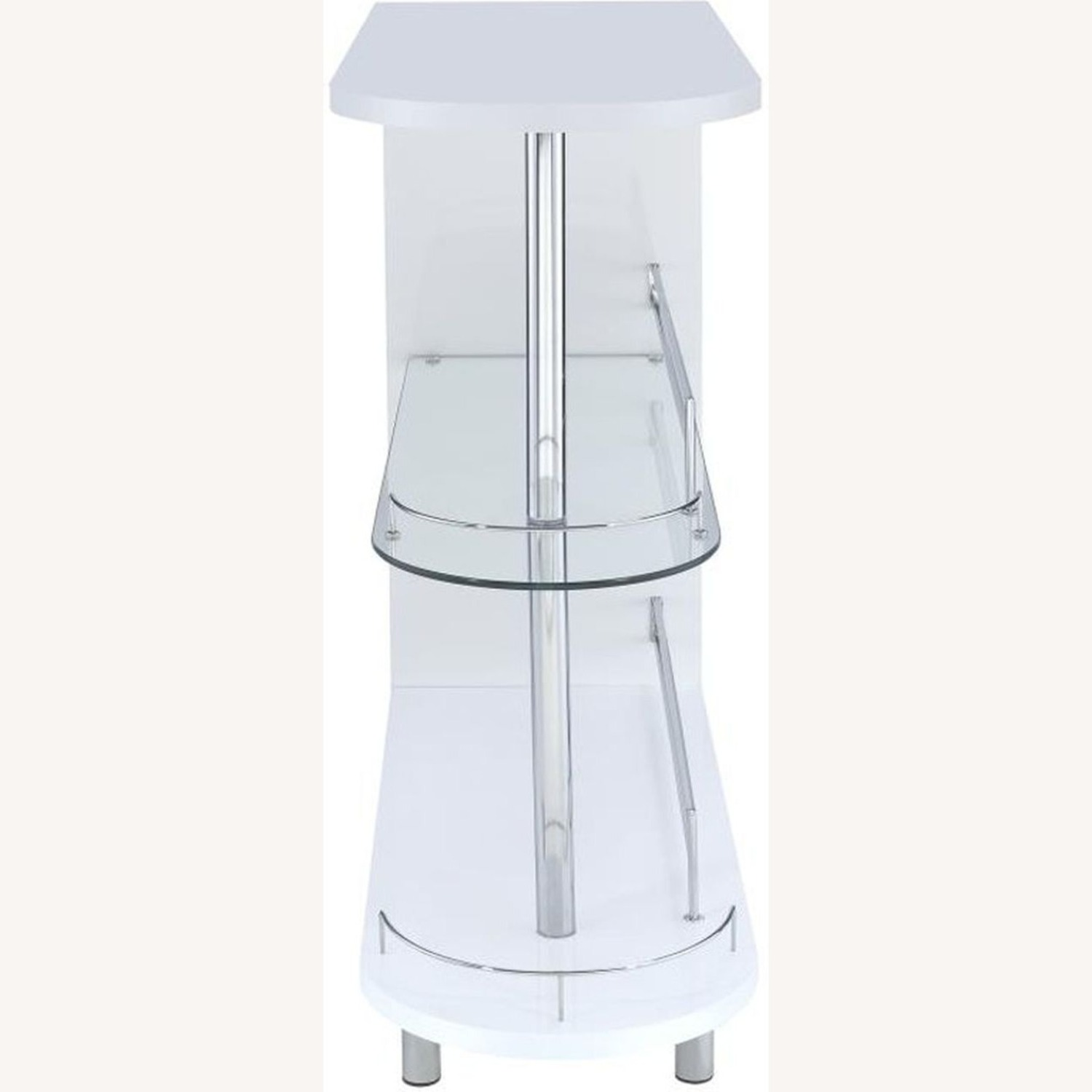 Bar Cart In Glossy White W/ Tempered Glass Shelf - image-2