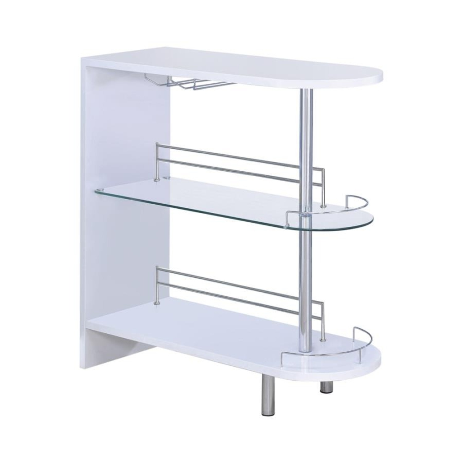 Bar Cart In Glossy White W/ Tempered Glass Shelf - image-0