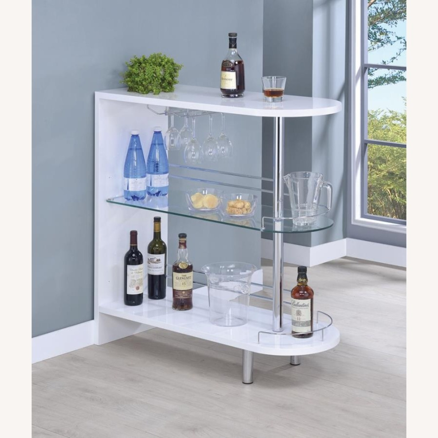 Bar Cart In Glossy White W/ Tempered Glass Shelf - image-3