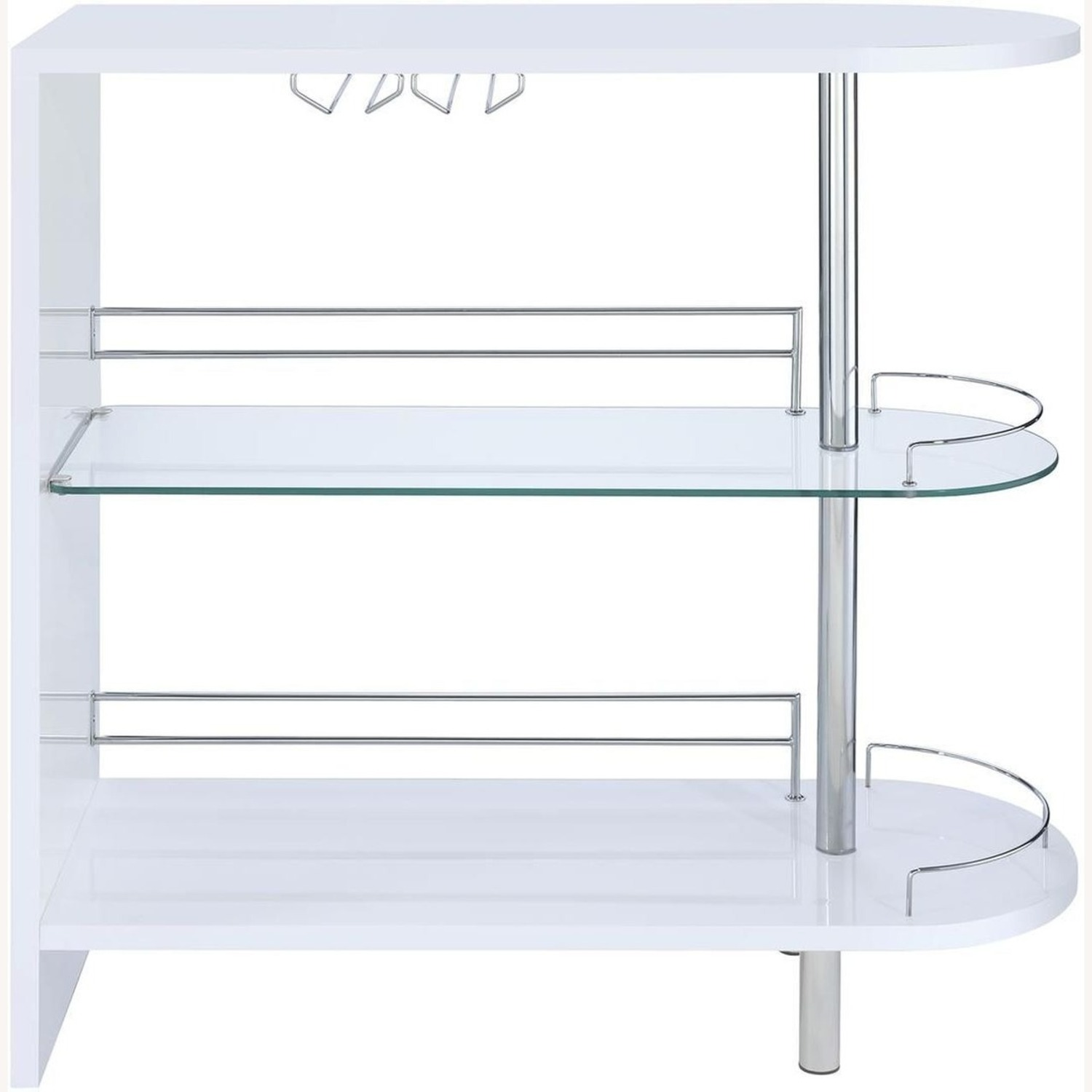 Bar Cart In Glossy White W/ Tempered Glass Shelf - image-1