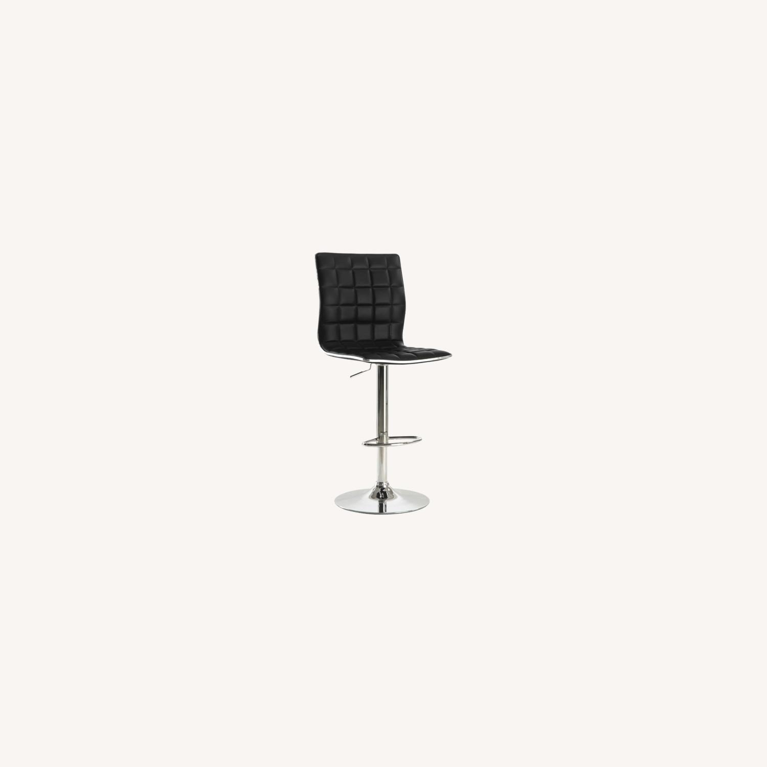 Bar Stool In Black Faux Leather W/ Adjustable Base - image-4
