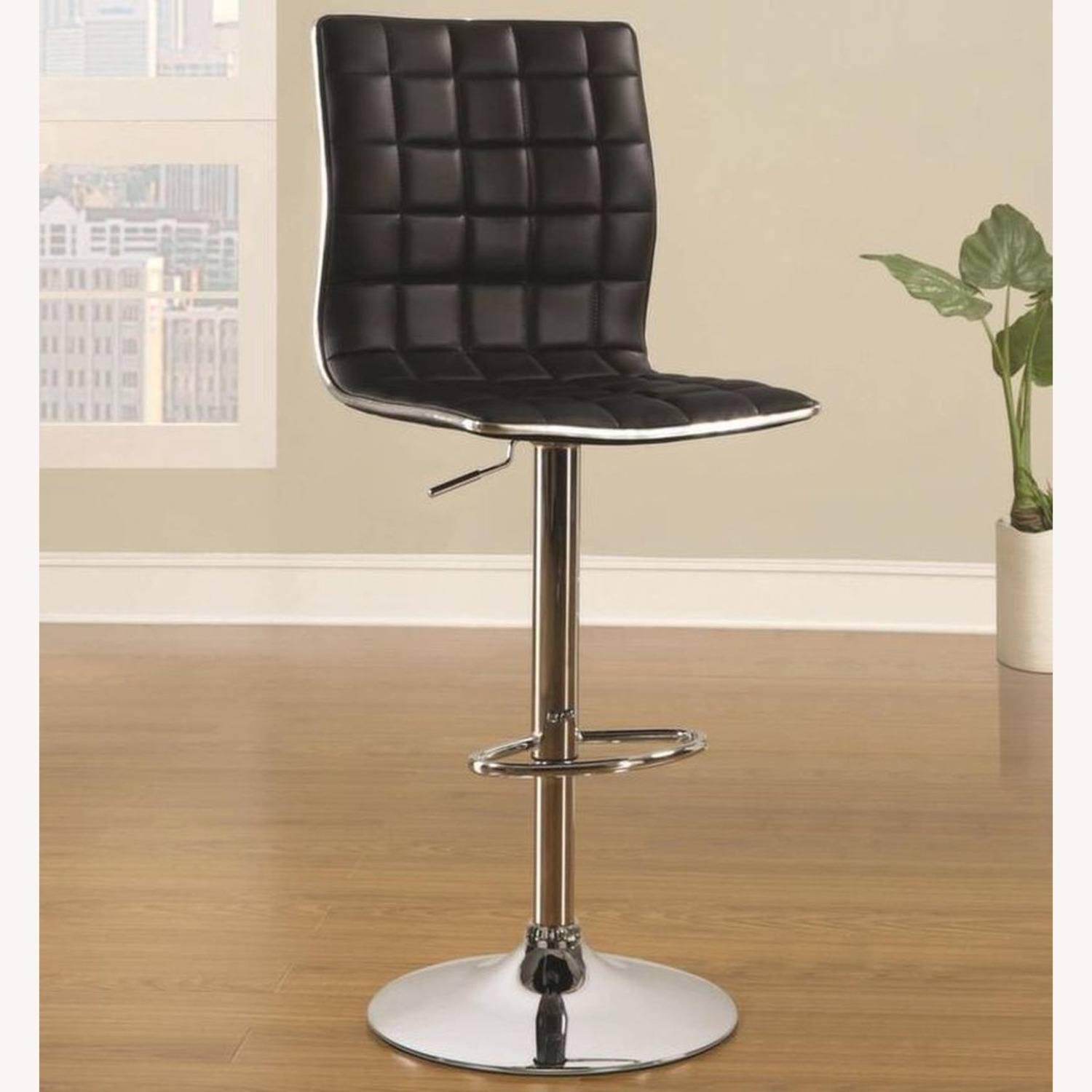 Bar Stool In Black Faux Leather W/ Adjustable Base - image-3