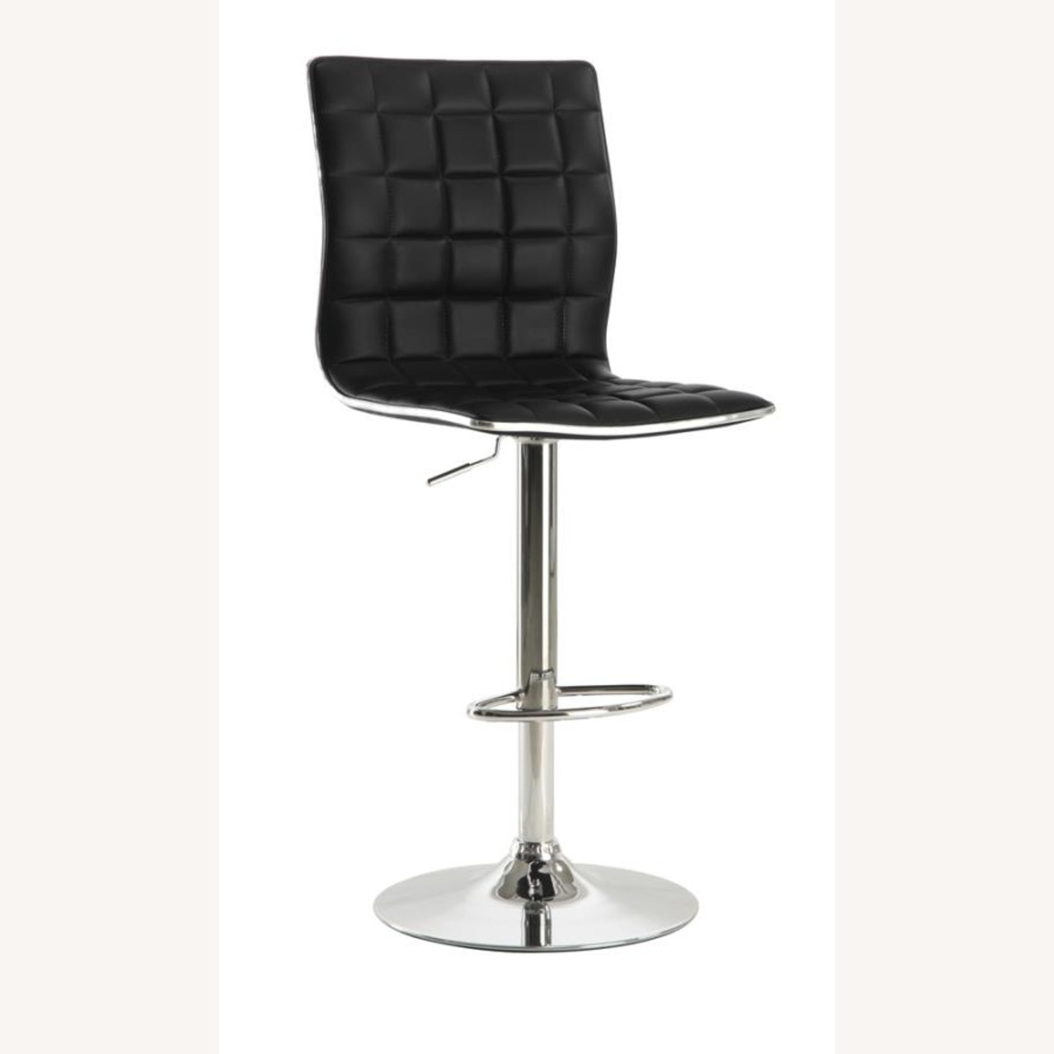 Bar Stool In Black Faux Leather W/ Adjustable Base - image-0