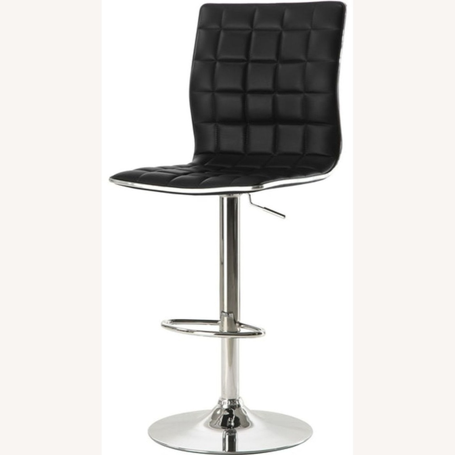 Bar Stool In Black Faux Leather W/ Adjustable Base - image-1